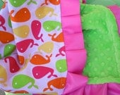 Urban Zoologie Pink Whales Minky Binky with satin ruffle - customize size and colors