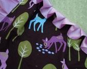 Pet Deer Purple Minky Binky with satin ruffle - customize size and colors