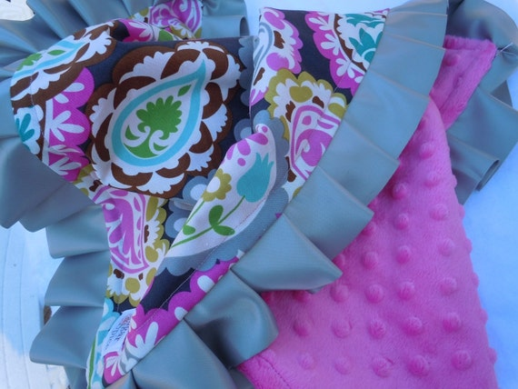 Roco Beat Paisley Minky Binky with satin ruffle - CUSTOMIZE size and colors