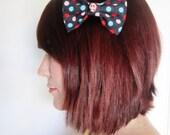 Navy Polka Dot Hair Bow