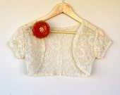 IVORY LACE  Bridal  Bolero with Removable Ivory rose Brooch for casual or wedding  (Small )