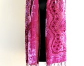 FUSIA PINK Velvet Scarf Neckwarmer Shawl Ready to Ship for you