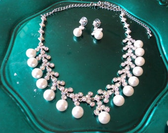 Vintage Wedding Day Choker and Earrings Pearl Set
