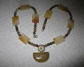 Necklace of druzy drusy agate with jasper beads