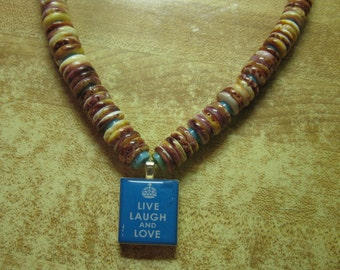 Necklace: spiny oyster shell, turquoise, Live Laugh Love pendant, sterling