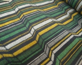 Woven 3 Dimensional Effect Green Striped Multi Colored Wool Blend Japanese Kimono Fabric n.199, UNUSED, 36 inches