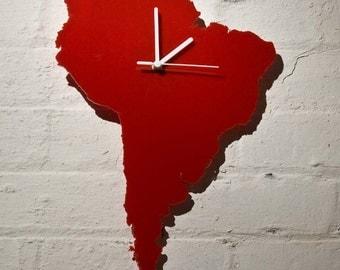 South America Clock (Red)