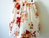 Vintage inspired floral skirt - Red magnolia