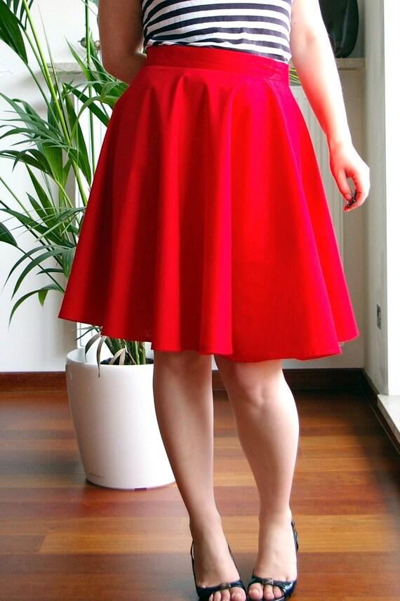 Circle skirt, summer skirt - Red skirt