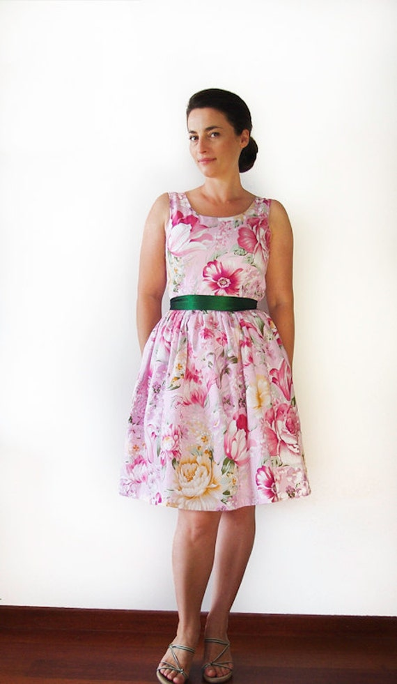 Sale - 20% Vintage inspired dress, bridesmaid dress, Peonies and lilies dress- Size M Ready to ship