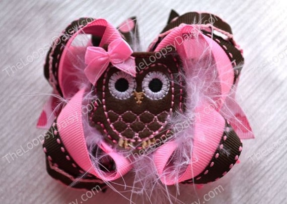 Hootie Tootie Deluxe Hairbow, Owl Hairbow, Owl Bow, Boutique Hairbow, Girls Hairbow