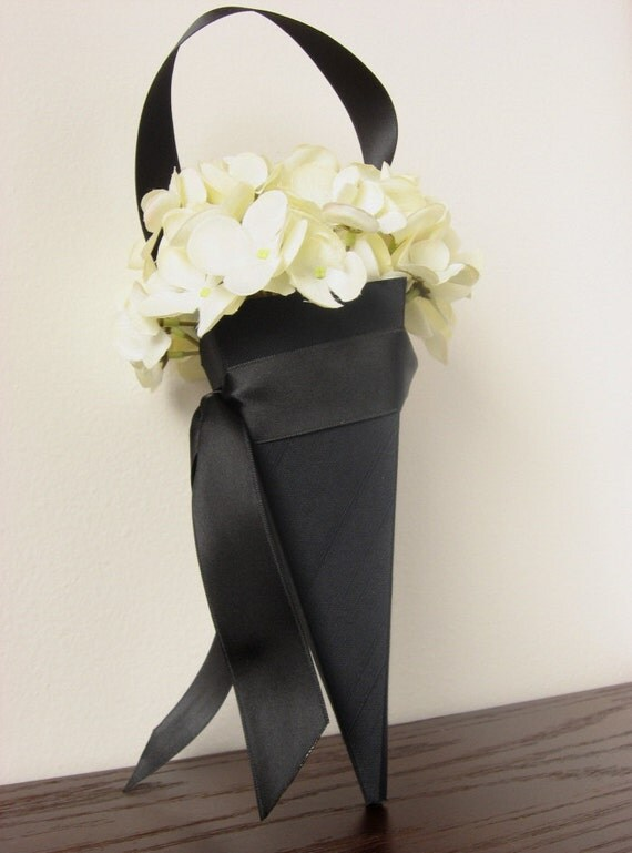 Small Black Fabric Flower Girl Cone. CONE ONLY.