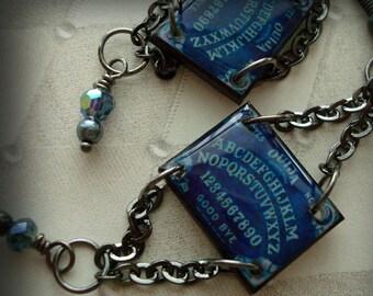 ouija by moonlight, resin, blue, dangle ,goth earrings