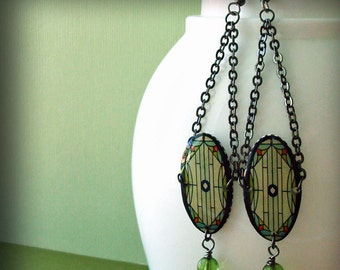 Resin  and gun metal ,stained glass image,chandelier style dangle earrings windows series no.53