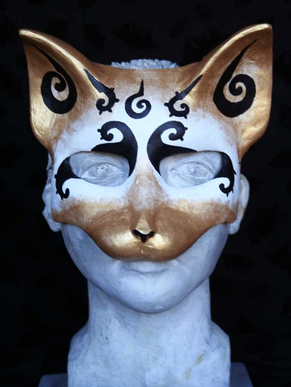 Black Spiral Cat Mask