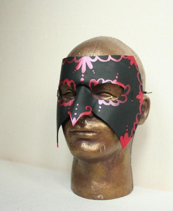 Black and Metallic Red Venetian Style Mardi Gras Mask - Handmade Leather Carnival Mask