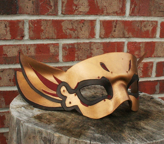 Thai inspired Handmade Leather Mask in Gold and Red