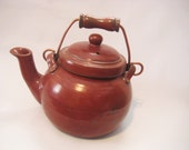 Teapot Handmade Pottery Rustic Rust Red Functional Serving & Decor