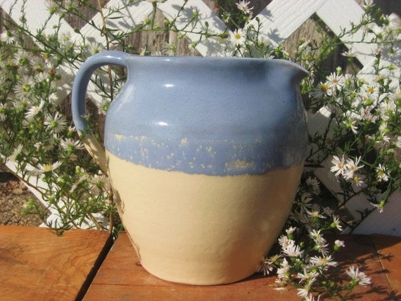 Cottage Style Pitcher 30% OFF SALE Handmade Pottery Country Jug Blue Sky Cream