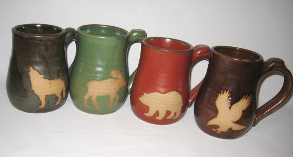 Wild Animal Coffee Mug Set of Four Cups Handmade Pottery Art Silhouettes on Bare Clay - Bear, Wolf, Eagle, Moose