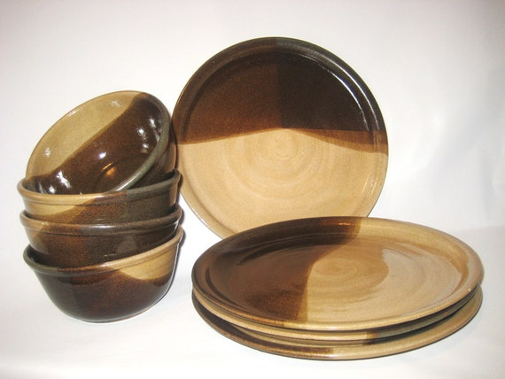 Dinnerware -  Handmade Pottery - Place Settings for Four - Dinner Plates & Soup/Salad Bowls Glazed Rich Chocolate Brown and Natural