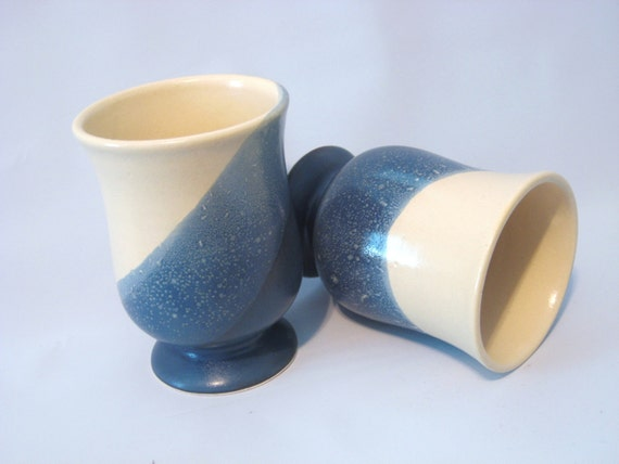 Two Handmade Pottery Denim Blue and CreamTumbler Cups Wine Goblets