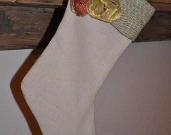 Handmade natural linen and burlap stocking