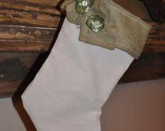 Handmade white stocking with flowers