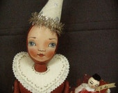 Queen of Hearts - Be Mine Original OOAK cloth doll love hearts red vintage retro glitter