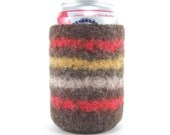 Felted Can Cozy - Grilling Stipes -  Mustard, Red, and Brown