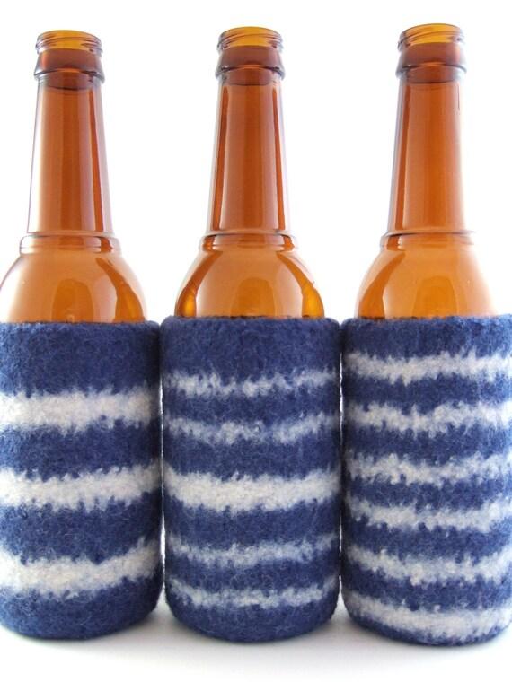 RESERVED FOR DEBBIE - Custom Order Dallas Cowboys Stripes and Girlie Stripes Felted Bottle Cozies