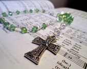Green Glass Crystal Anglican Rosary