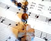 Tan Fairy Stone Staurolite Wooden Agate Anglican Rosary Bracelet