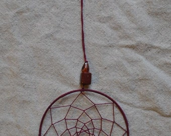 Dark Red Dream Catcher with Wire Wrapped Stone
