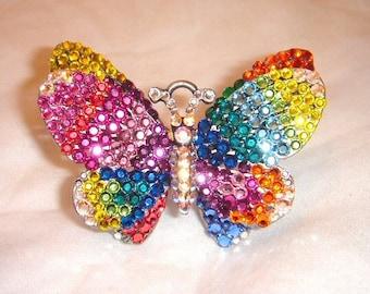 Custom 2-Finger Swarovski Butterfly Ring