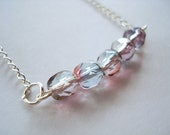Carnival Lights Pink Blue Two Tone Bar Necklace Czech Glass Silver