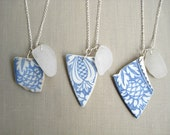 Blue Willow Sea Pottery White Sea Glass Necklaces Set of 3 - Perfect for Bridesmaids Gifts - Genuine Sea Glass Jewelry