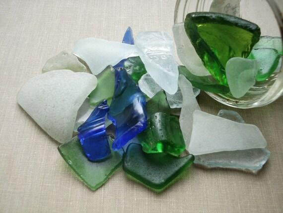 Peppermint & Eucalyptus Scented Sea Glass Potpourri - Genuine Chesapeake Sea Glass Loose Sea Glass Beach Home Decor - Green Blue Seafoam