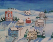 Primitive Decor Painting Landscape Folk Art Snowy Winter New England canvas