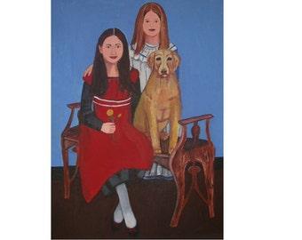 Commission Family Portrait Painting Primitive Folk Art Custom Canvas