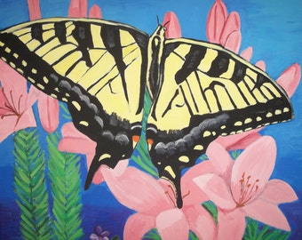 Butterfly Painting Canvas Art Yellow Garden Lillies Flowers Spring Easter