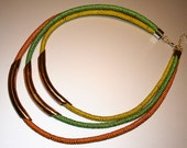 Crocheted 3 strand color block necklace