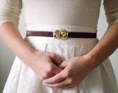 Vintage Belt Buckle - Gold-tone Snail Shells