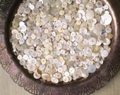Button Destash - Lot of Over 500 Vintage White, Ivory, and Clear Plastic Buttons
