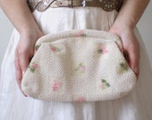 Vintage Beaded Clutch - White with Dainty Pink Floral, Bridal / Prom / Bridesmaid Bag by Lumured