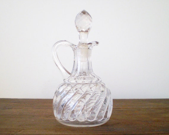 Petite Pressed Glass Vinegar Decanter with Faceted Stopper