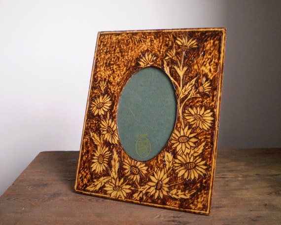 Antique Pyrography Easel Picture Frame - Ca. 1903 Arts and Crafts Sunflower Primitive Wood-burned Design