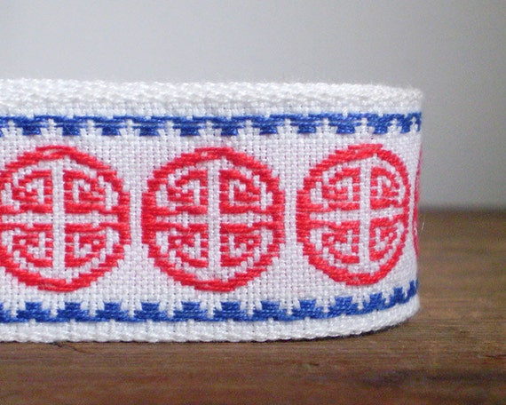 Vintage Embroidered Trim / Ribbon Yardage - Red, White, and Blue, Chinese Medallion Motif - Almost 5 Yards