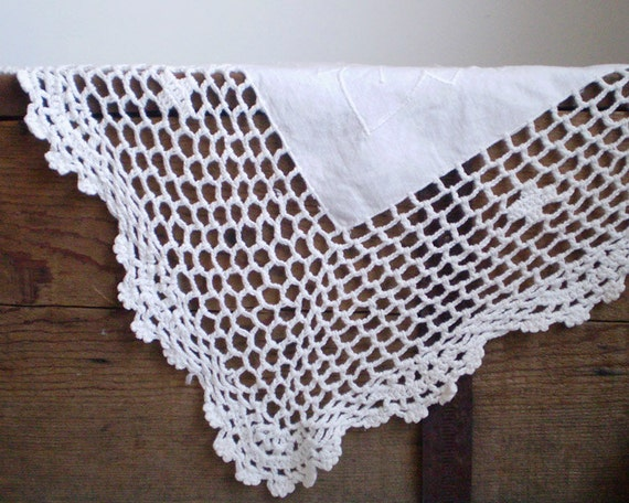 Vintage White Tablecloth - Dainty White on White Openwork Embroidery, Crochet Scalloped Edge, 38 x 38 Square