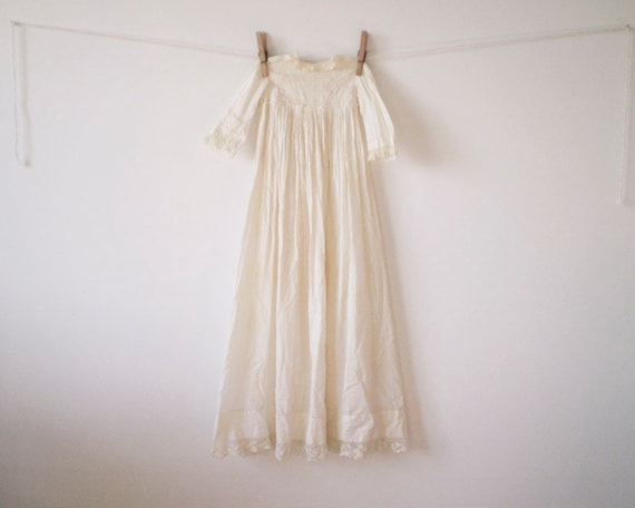 Antique Christening Gown / Long Baby Dress - Ivory Cream Cotton Eyelet with Lace